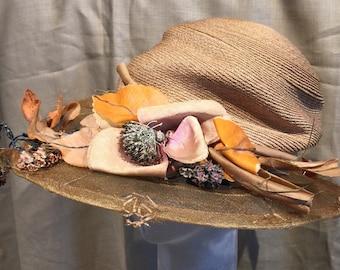 1920's Wide Brim Straw Hat GATSBY, Original