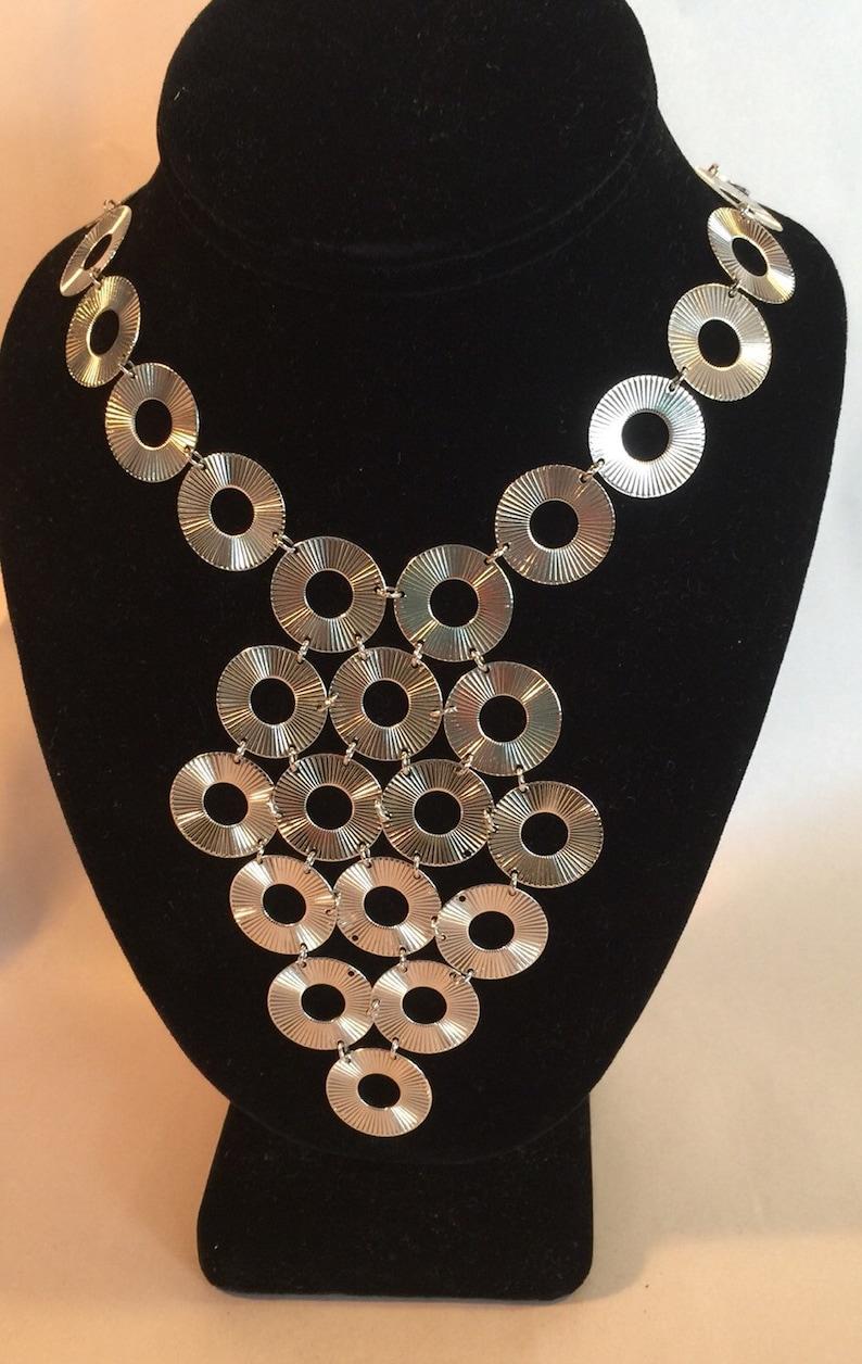 Vtg 70/'s Bib Statement Silver Circles Vendome Necklace