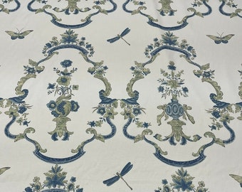 ID No.136 A or B Designer 3.25M or 3.15M Zoffany Qing Cartouche blue butterfly dragonfly floral cotton curtain pillow cushion craft fabric