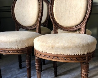 ID No.171 Set of 2 - 4 Vintage Antique French Wooden Carved Floral Dining Bedroom Chairs Original Patina Upholstery Project