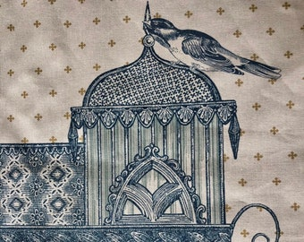 ID No.161 Vintage 2,5M Designer Monkwell Netherfield blue cream floral castle bird cage light cotton curtain pillow cushion craft fabric