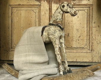 ID No.176 RARE by 1M x 0,8M Antique Vintage Home Spun Nettle Hemp Rustic Linen Fabric Crafts
