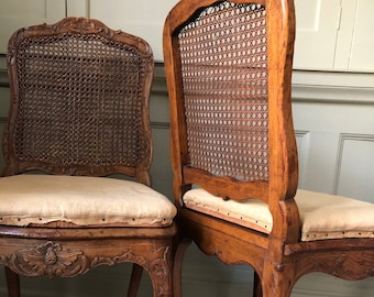 Bid at Wotton Auction on 4-6.October! 19th Century Vintage Antique Wooden Carved Floral Chairs Patina Bergere Rattan Cane Upholstery Project