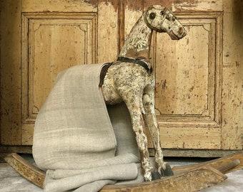 ID No.123 RARE 1.65M x 0.5M width Antique Vintage Home Spun Nettle Hemp Rustic Linen Fabric Crafts