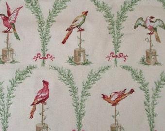 ID No.124 Designer 1M Vintage RARE Schumacher Greeff Garden Song Bird Floral Cotton Fabric Curtain Crafts