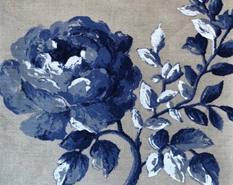 ID No.114 or 133 Designer 2,85M or 3,65M Vintage Manuel Canovas Rosa blue linen upholstery curtain pillow cushion craft fabric
