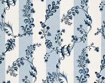 ID No.70 Designer 5,5M Schumacher Bagatelle floral cotton blue curtain pillow cushion craft fabric
