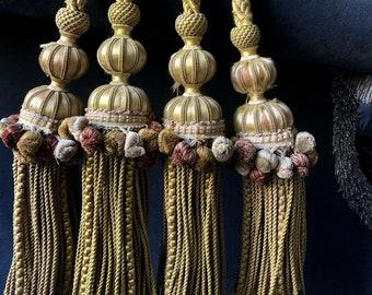 ID No.F96 Set of 2 - 4 pcs Antique Vintage French Silk Passementerie Tassel Curtain Tie Backs