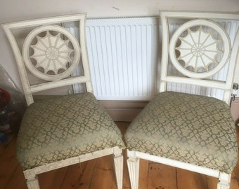 Coming soon! ID No.164 Pair of Antique carved painted sun back rest chairs upholstery project