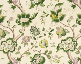ID No.104 Designer 2,25M Sanderson Roslyn Floral Green Linen Fabric Curtain Upholstery Crafts