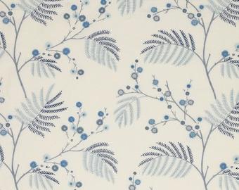 ID No.57 Designer 1,5M Jane Churchill Inglewood Blue Fabric Cotton Linen Embroidery Craft