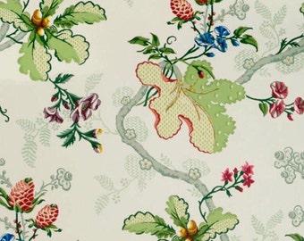 """ID No.54 Designer 1,6M Brunschwig & Fils """"Fabriano"""" white multi cotton floral fabric"""