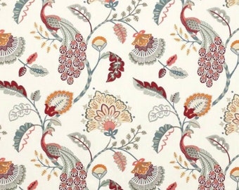 ID No.60 Designer 1,35M Jane Churchill Jaipur Peacock Slate/Red Embroidery Fabric Crafts