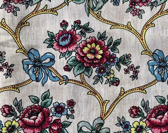 ID No.62 Designer 2,6M French Vintage Printed Floral Natural Linen Fabric Craft small fault