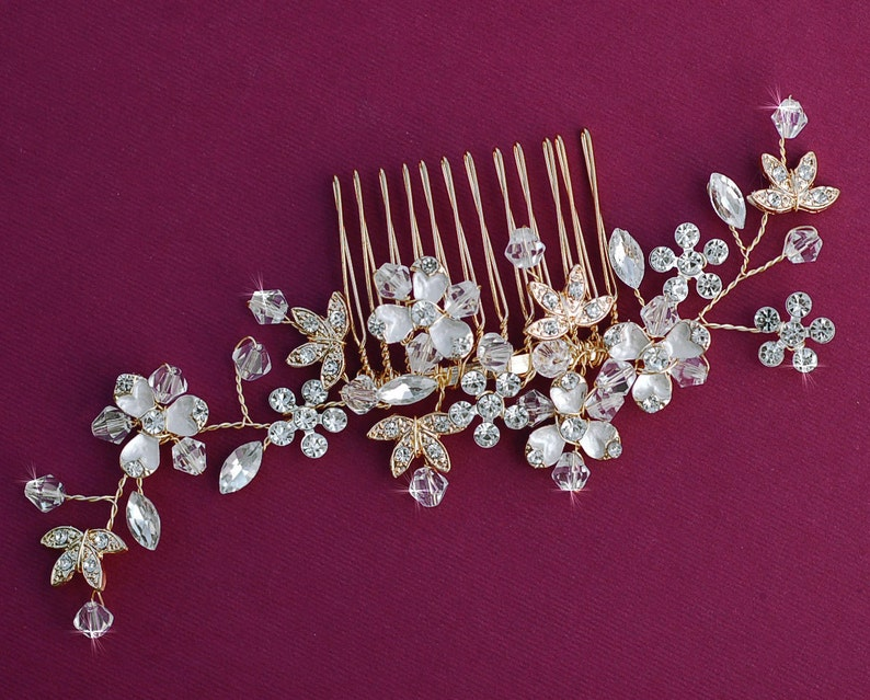 SILVER or GOLD Crystal Bridal Comb Hair Accessories Accessory Wedding Hair Piece Jewelry Prom Party Hairpiece Barrette Clip Birdcage Veil