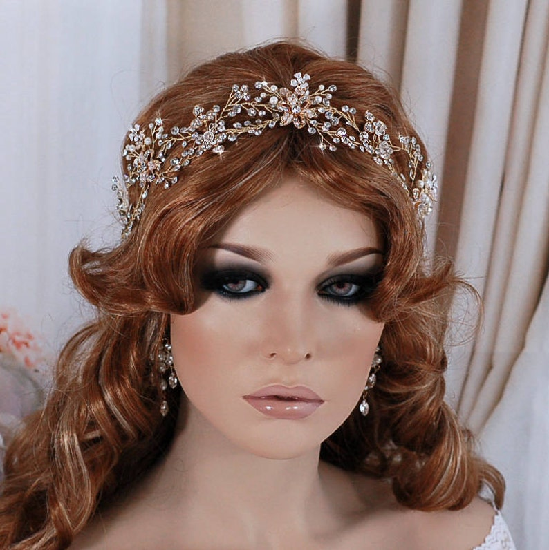 Champagne Blush Gold Bridal Vine Headpiece Hair Wreath Head Band Piece Accessory Headband Bride Wedding Brides Party Crystal Accessories