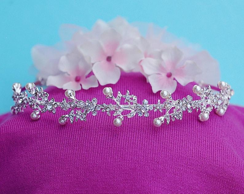 Floral Bridal Headband Crystal Wreath Headpiece Wedding Hair Accessory Party Jewelry Bride Accessories Weddings Head Piece Band Hairpiece