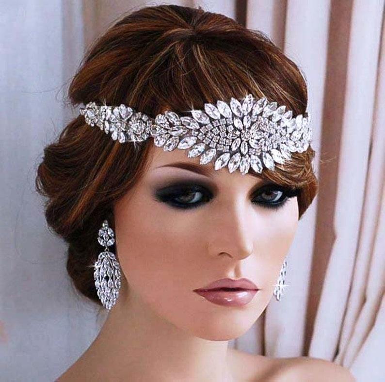 Great Gatsby Headpiece Flapper Bridal Woman Head Band 1920s  fca511400cf