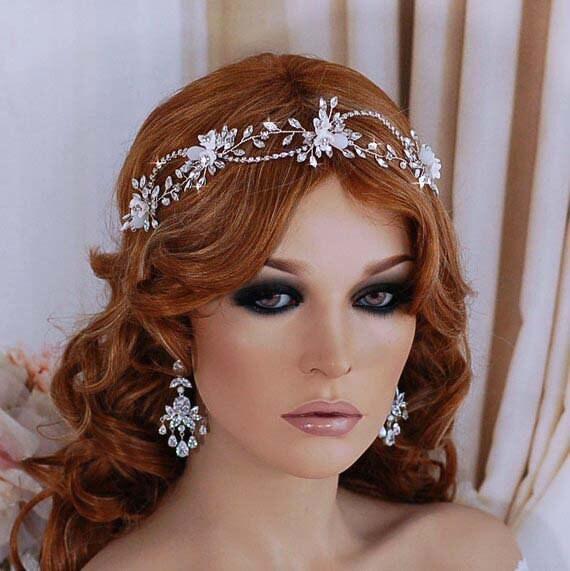 Bride Head Piece: Silver Hair Vine Headpiece Bridal Wreath Boho Bride Head