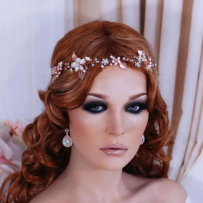 Rose gold hair piece Bridal headband Rose gold hair vine Wedding head piece Wedding hair piece Rose gold wreath Rose gold hairpiece