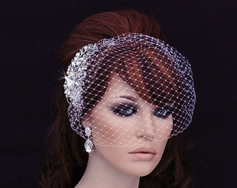 Bird Cage Veil , Blusher , Birdcage Veil and Comb , Bridal Comb ,  Wedding Comb , Bridal Hair Accessory , Crystal Bachelorette Veil