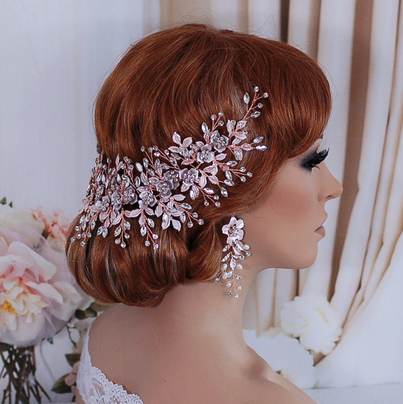Rose Gold Floral Wedding Headpiece Bridal Headband Wreath Head Hair Piece Bachelorette Accessory Party Weddings Brides Gft Accessories