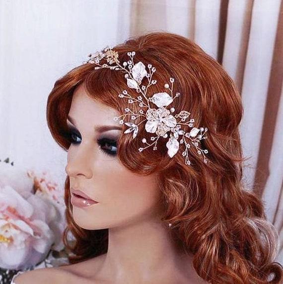 Bridal Headpiece Wreath Vine Silver or Blush Champagne Gold Bride Accessory Weddings Wedding Accessories Head Hair Piece Party Hairpiece