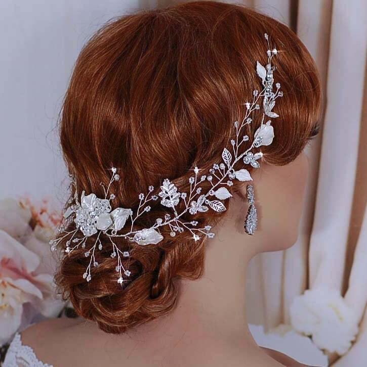 Silver Rose Gold Blush Bridal Vine Hair Wreath Headpiece