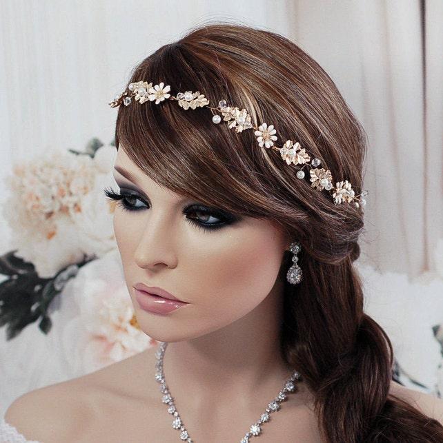 Gold Vine Floral Hair Jewelry Headpiece Pearl Bridal Headband