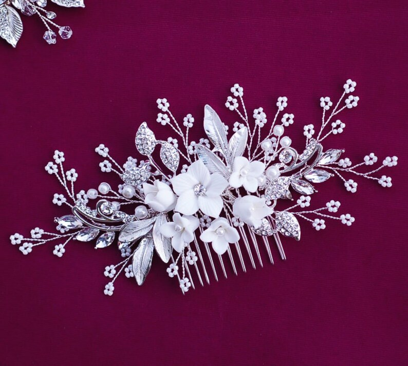 Silver or Rose Gold Wedding Hair Comb Floral Hairpiece Party Head Piece Bridal Accessory Weddings Bride Headpiece Gift Flower Clip Jewellry