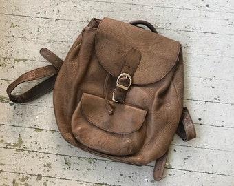a4d300b917 Vintage 90 s Brown Leather Backpack by Eddie Bauer