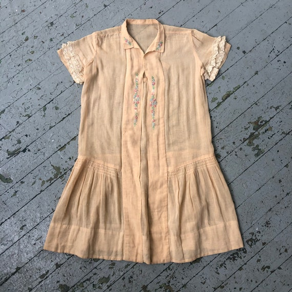 Vintage 1920's Children's Peach Cotton Voile Dress