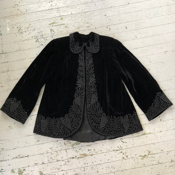 Incredible 1940's Silk Velvet Swing Coat