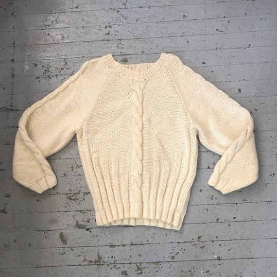 Vintage 1930's Cream Cable Knit Sweater