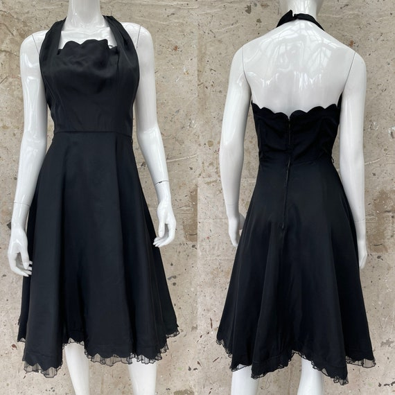 1950's Black Satin Halter Dress