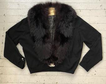 Vintage 1950's Black Cashmere & Fox Fur Cardigan Sweater