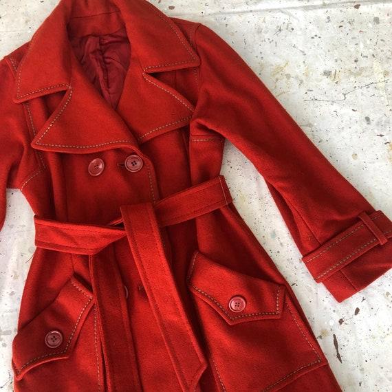 Vintage Sienna Wool Belted 70's Coat - image 4