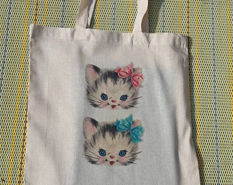 a2acab1e0 Vintage Retro Hand Printed kittens Cats Recycled Cotton Tote Bag Gift Idea  Kitsch