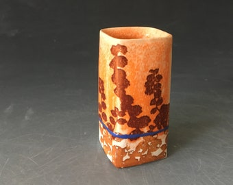 Orange and White Bud Vase with Blue Stripe