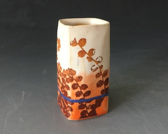 White and Orange Bud Vase with Blue Stripe