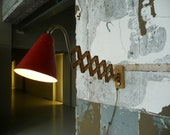 Hala vintage 50 39 s Dutch adjustable industrial metal Scissor wall lamp patina worn look with red lampshade