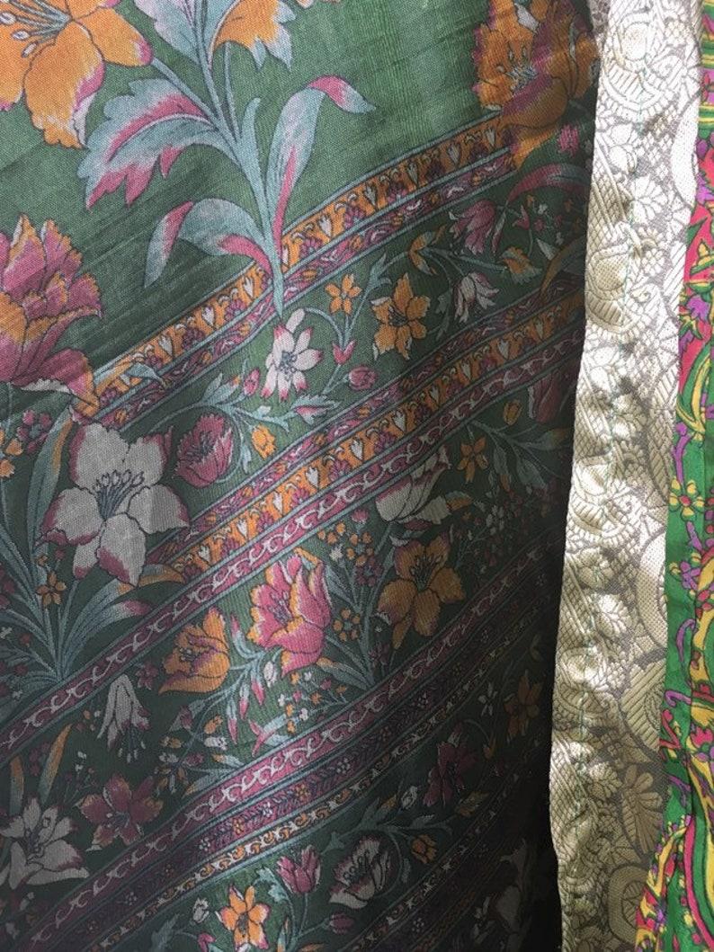 Hippie dress Vintage green floral silk reversible indian sari magic wrap skirt dress ONE SIZE Skirt Boho 36 long