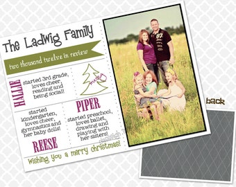 Year in Review Family Photo Christmas Card Personalized Holiday Card
