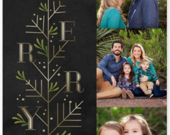 Merry Holiday New Year Photo Christmas Card Personalized Holiday Card