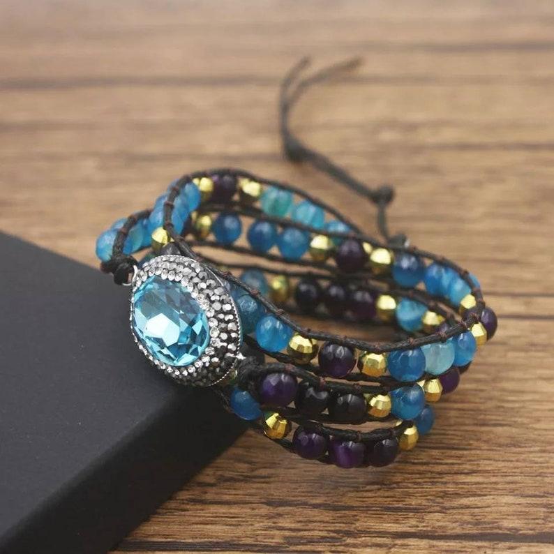 Crystal  3 Times blue Bracelet Boho jewelry free delivery Fashion Women wrap Bracelets with Natural Stones