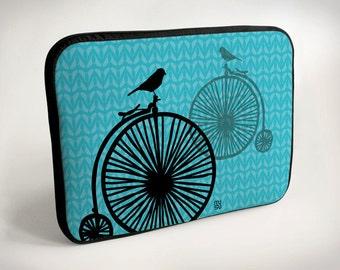 Bicycle with one bird - Laptop Case - Laptop Bag - Laptop Sleeve - Pink - Blue