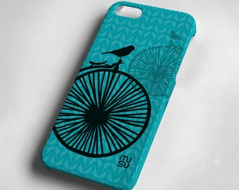 Bicycle with one bird (blue or pink) - iPhone 5 Case - iPhone 5 Cover - Plastic IP5 Case