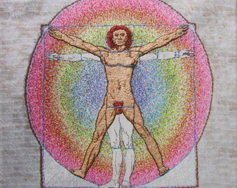 Vitruvian Man, Da Vinci, print, on canvas, one figure hand embroidered, 11x11