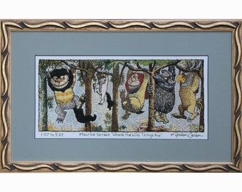 Where the Wild Things Are, Maurice Sendak, print, of hand embroidered original, on canvas, 12x19