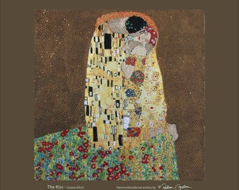 The Kiss, Gustav Klimt, print, of hand embroidered original, on canvas or brushed copper, 14x14